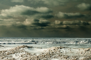 """Dark Clouds over Open Water"" - Lake Huron Winter Shores"