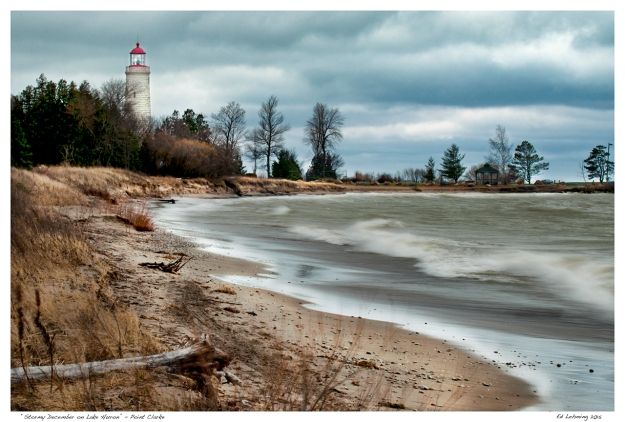 """Stormy December on Lake Huron"" - Point Clarke"