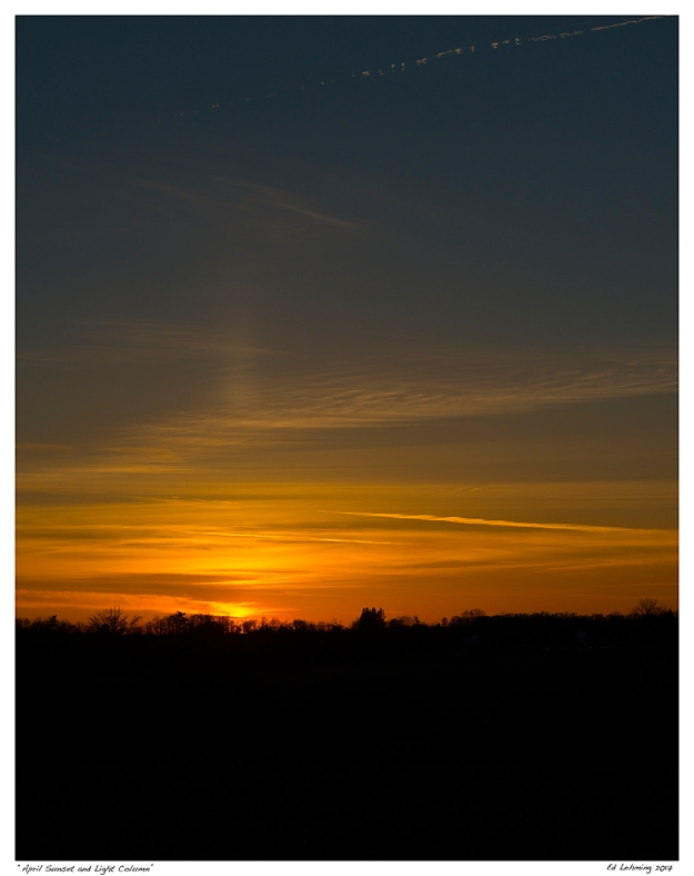 """April Sunset and Light Column"""
