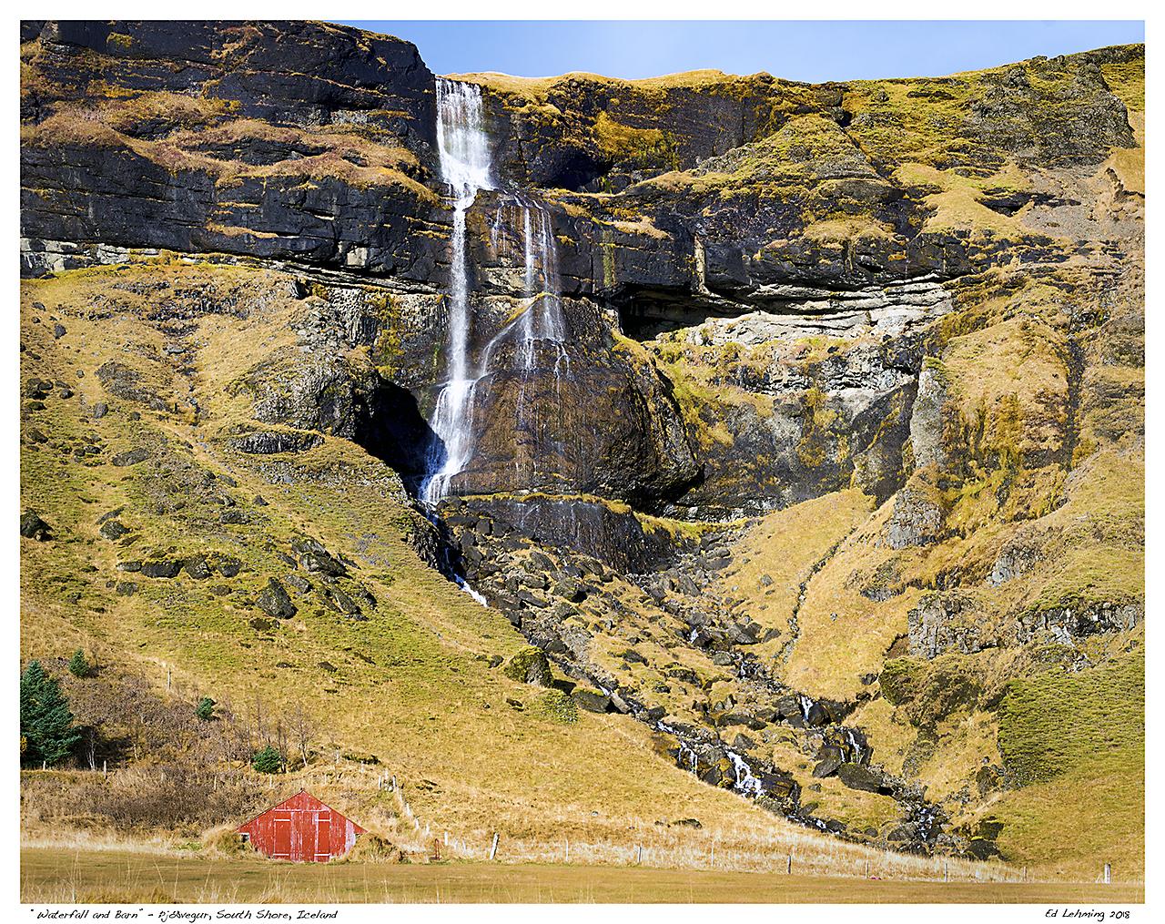 """Waterfall and Barn"" - Þjóðvegur, South Shore, Iceland"